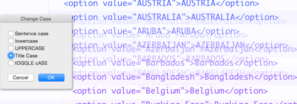 Learn how to quickly change case or other transformations on parts of code list items without touching the other parts. The example in this tutorial converts country names—both instances of each country name in 202 list items in either the HTML or JavaScript versions—from ALL CAPS to Title Case without altering the case of the surrounding code. Doing that by hand, retyping each one, would be labor intensive and error prone. It's a bad idea. Instead, there's a much easier, semi-automated way to make the change. To do that, each item must be expanded into its static and variable components.