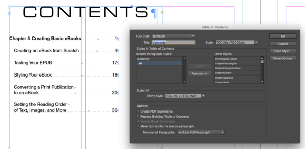 Figure 1: Creating the first, on-the-page table of contents.