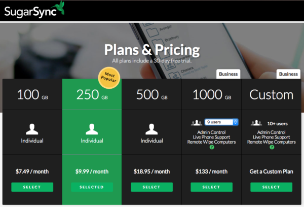 The SugarSync plans and pricing table.